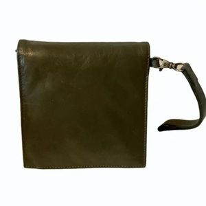 Latico luxe leather square clutch wristlet olive